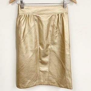 FRNCH Paris Gold Faux Leather Pencil Skirt NWT